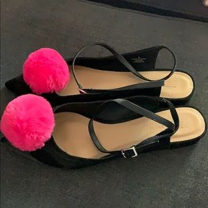 ASOS shoes black with pink puff size 8. Never worn